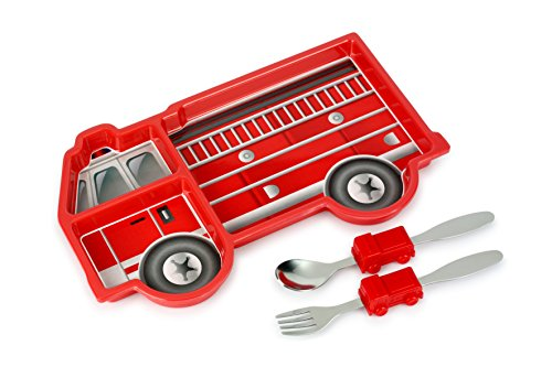 KidsFunwares Me Time Meal Set (Fire Engine) - 3-Piece Set for Kids and Toddlers - Plate, Fork and Spoon that Children Love - Sparks your Child's Imagination & Teaches Portion Control - Dishwasher Safe -