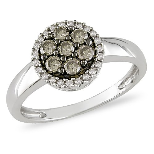 10K White Gold, Brown and White Diamond Ring, (.37 cttw, GH Color, I2-I3 Clarity ), Size 7