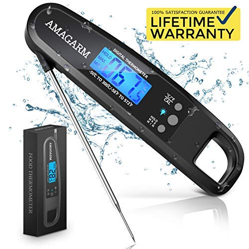 Upgraded 2019 Version Digital Meat Thermometer for Grill and Cooking, 2S Best Super Fast Instant Read Waterproof Kitchen Thermometer Probe for Food, Candy, Liquids, Grilling, Beef, Bread, Cakes, BBQ by AMAGARM