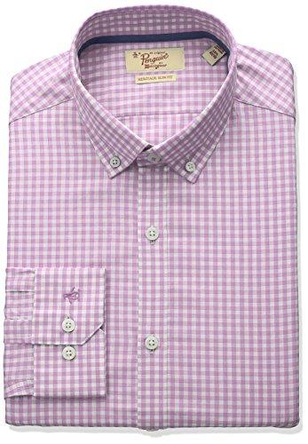 Original Penguin Men's Slim Fit Button Down Collar Dress Shirt, Pink Gingham, 16.5 34/35 by Original Penguin