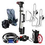 Bikes On Hikes 6 Piece Bike Accessory Kit Black Red - Includes Hand Bar Cup Holder (2), Led Wheel Light (1), LED Combination Lock (1), Phone Mount (1), Air Pump (1)- Perfect All in One Set for Bike