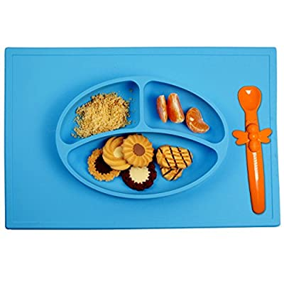 Silicone Placemat + 3 Compartment Plate with Silicone Spoon for Babies and Toddlers - Portable Non Slip Meal Prep for Kids that Suctions to Tables (Blue) by DREAMS-ABM that we recomend individually.