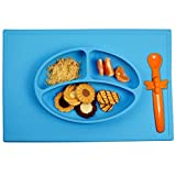 Babies Kids Best Deals - Silicone Placemat + 3 Compartment Plate with Silicone Spoon for Babies and Toddlers - Portable Non Slip Meal Prep for Kids that Suctions to Tables (Blue)