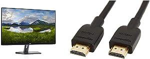 Dell 27 LED Backlit LCD Monitor SE2719H IPS Full HD 1080p 1920 x 1080 at 60 Hz HDMI VGA & AmazonBasics High-Speed HDMI Cable, 3 Feet, 1-Pack