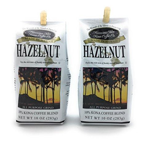 Hawaiian Isles 10% Kona Blend Gourmet Coffee, Hazelnut, Ground (2 Pack) ()