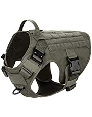 ICEFANG Tactical Dog Harness,2X Metal Buckle,Working Dog MOLLE Vest with Handle,No Pulling Front Leash Clip,Hook and Loop Panel for ID Patch