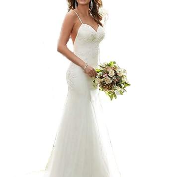 Ellenhouse Women\'s Long Sheath Wedding Dress with Low Back Tulle ...