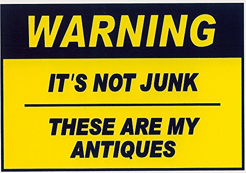 Antique Refrigerator (Funny Refrigerator Magnet.WARNING IT'S NOT JUNK, THESE ARE MY ANTIQUES .FREE SHIPPING ON THIS ITEM. Two different sizes. This flexible magnet is available for quick shipping. Great Item.)