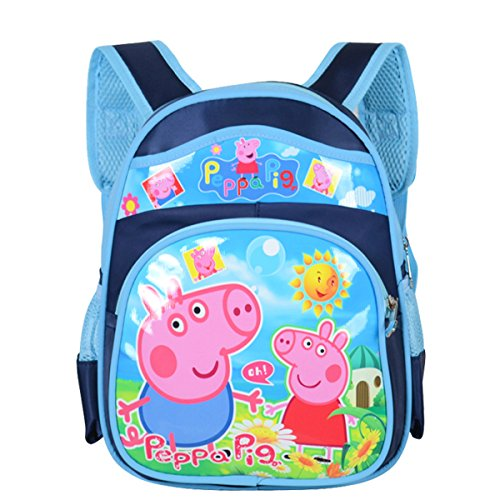 YOURNELO Kid's Cute Cartoon Peppa Pig Rucksack School Backpack Bookbag for Boys Girls (Peggy Darkblue 2, S)