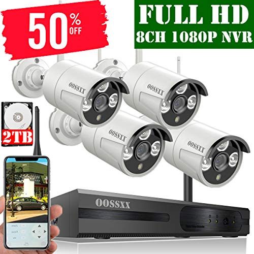 【2019 Update】 OOSSXX 8-Channel HD 1080P Wireless Security Camera System,4Pcs 1080P 2.0 Megapixel Wireless Indoor/Outdoor IR Bullet IP Cameras,P2P,App, HDMI Cord & 2TB HDD Pre-Install ()