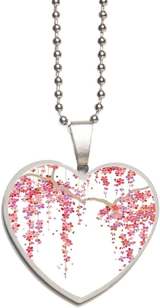 Mantto Cherry Blossom Necklace Personalized Engraved Heart Custom Gift Pendant-Valentines Day Love