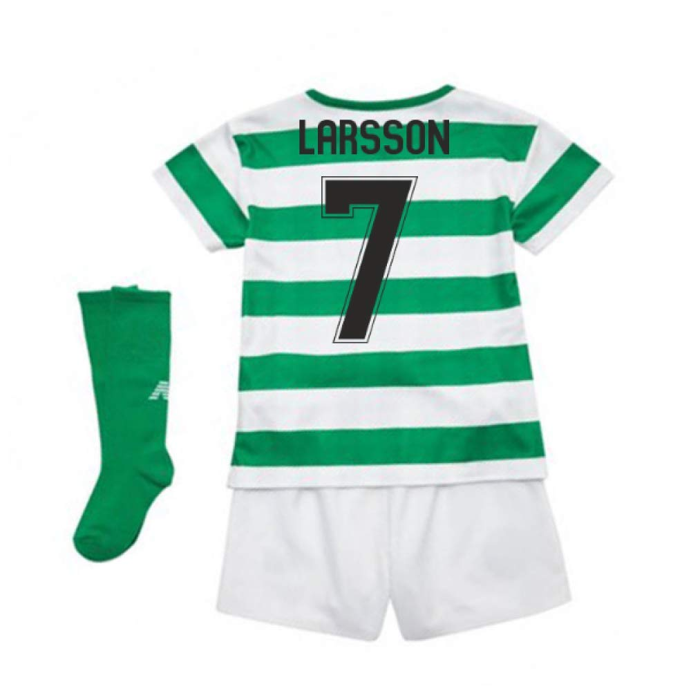 UKSoccershop 2018-2019 Celtic Home Little Boys Mini Kit (Henrik Larsson 7)
