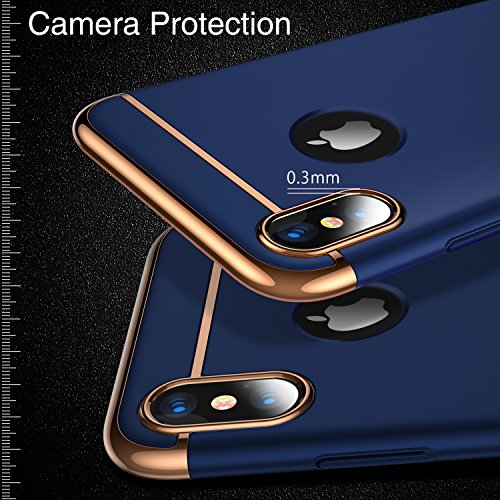 iPhone X Case, TORRAS [Lock Series] 3 in 1 Hybrid Hard Plastic Case Ultra Thin and Slim Anti-scratch Matte Finish Cover Case for Apple iPhone X - Blue Photo #4