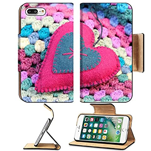 Luxlady Premium Apple iPhone 7 Plus Flip Pu Leather Wallet Case iPhone7 Plus 25530113 pink and blue felt shabby chic heart on a crochet afghan - Crochet Shell Afghan