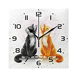 JUMBEAR Square Wall Clock Silent Non Ticking Couples Cat Frameless Clock for Home Living Room Kitchen Office School