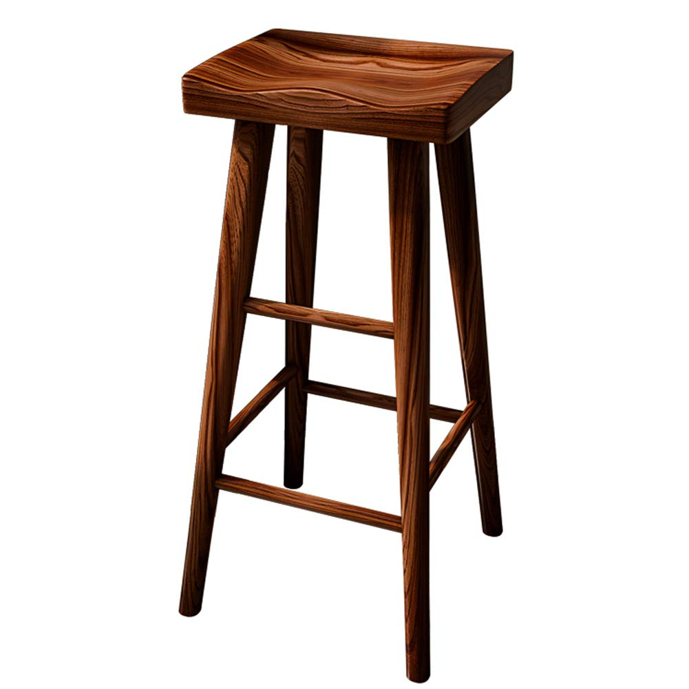 BROWN 34x26x45CM LIQICAI Wooden Bar Stool with Footrest Breakfast Elegant and Ergonomic Seat Surface, 45 65 75CM Seat Height, 3 colors (color   Brown, Size   34x26x45CM)