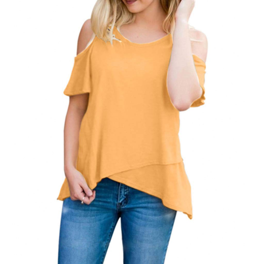 Kiminana Blouses for Women,Women's Short Sleeve Casual Cold Shoulder Tunic Tops Loose Blouse Shirts Yellow