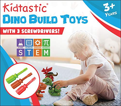 Wevon Take Apart Dinosaur Toys for Kids Gift for Toddlers Kids Boys Girls Age 3+ 4 Packs STEM Building Toy Set with Screwdriver Construction Engineering Play Kit Learning Toys
