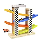 Ramp Racer Race Track;TEYTOY Toddlers Wooden Ramp Racer Race Track Vehicle Playsets with 4 Mini Racers (Exquisite packing)