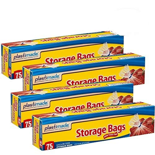 Plastimade Disposable Plastic Storage Bags With Original Twist Tie, 1 Gallon Size, 300 Bags, Great For Home, Office, Vacation, Traveling, Sandwich, Fruits, Nuts, Cake, Cookies, Or Any Snacks (4 Packs)