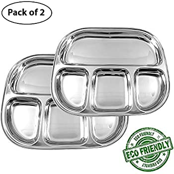 0b4f4c57ae89 Amazon.com: IndiaBigShop Stainless Steel Oval Shape 4 compartment ...