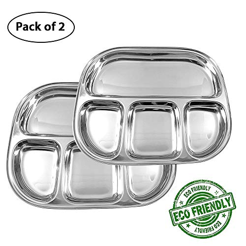 (IndiaBigShop Stainless Steel Oval Shape 4 compartment Thali Mess Trays For Lunch and Dinner or Every Day Use Set of 2-13 Inch)