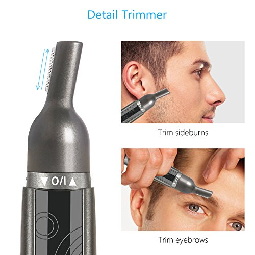 SUPRENT Nose & Ear Hair Trimmer, Wet/Dry Nose Hair Clipper for Businessmen with LED Light, Waterproof Stainless Steel Rotation Blade, Battery-operated (Black)