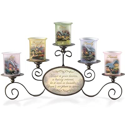 Thomas Kinkade Warmth of Home Candleholder Set Gives a Warm Glow to Thomas Kinkade Art on 5 Glass Votives - By The Bradford Exchange