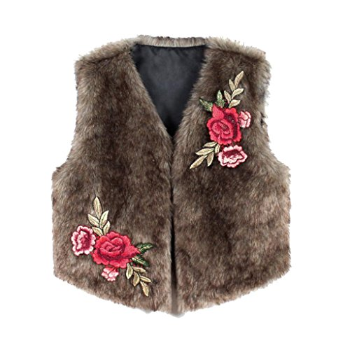SUKEQ Women's Winter Warm Embroidery Faux Fur Vest Sleeveless Jacket Outerwear Coat (Medium)