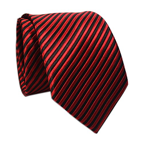 Men Boy Stripe Wine Red Black Tie Designer Suit Dress Necktie Gift for Boyfriend (Designer Mens Suit Executive)
