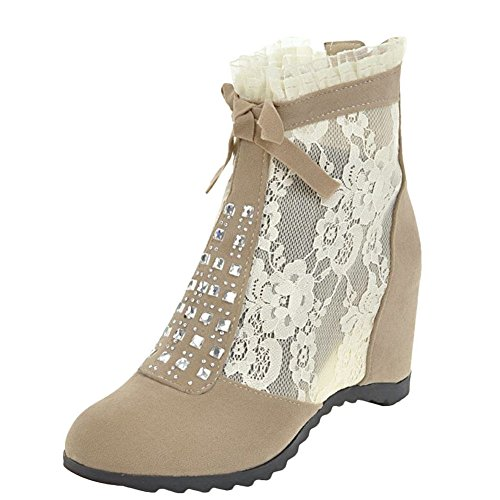 YE Damen Keilabsatz Ankle Boots Stiefeletten mit Spitze und Reißverschluss Inner-Erhöhung Schuhe Beige