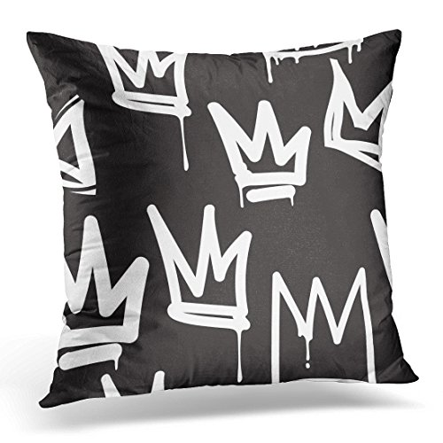 Prestige Collection Letter - VANMI Throw Pillow Cover Abstract Tags Black and White Graffiti Design in Hip Hop Street Style Skateboard Artistic Brush Decorative Pillow Case Home Decor Square 16x16 Inches Pillowcase