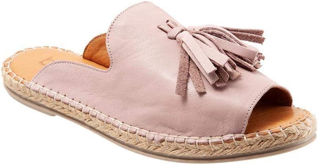 Ladies Fashion Flats Casual Slip On Shoes Peep Toe Roman Slipper 2DXuixsh Tassel Fish Mouth Sandals