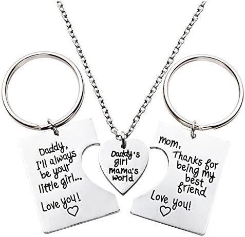 Jovivi Schlüsselanhänger Anhänger Halskette Set Daddy S Girl Mama S World Herz Puzzle Anhänger Familie Mutter Vater Tochter 3pcs Set Schmuck