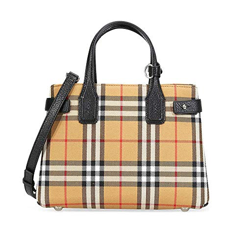 Burberry Women's Small Banner in Vintage Check and Leather Black