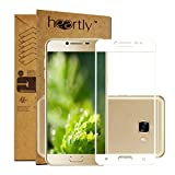 Heartly Premium Samsung Galaxy C5 Tempered Glass 3D Curved Edges Full Screen Protector With Upgraded Frame Technology - Frame White