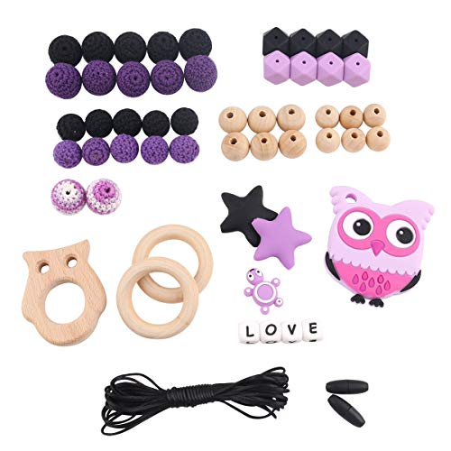 Baby Halloween Silicone DIY Teething kit Owl Pendant teether Moms Necklace Making Gift ()