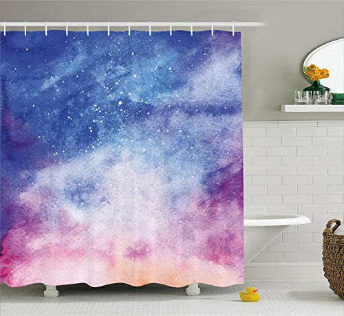 - Ambesonne Navy and Blush Shower Curtain, Watercolor Style Starry Space Galaxy Nebula Abstract Cosmos Inspired, Fabric Bathroom Decor Set with Hooks, 70 Inches, Salmon Pink