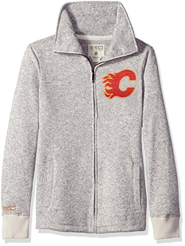 adidas NHL Calgary Flames Womens CCM Fleece Track Jacketccm Fleece Track Jacket, Grey Heathered, Large