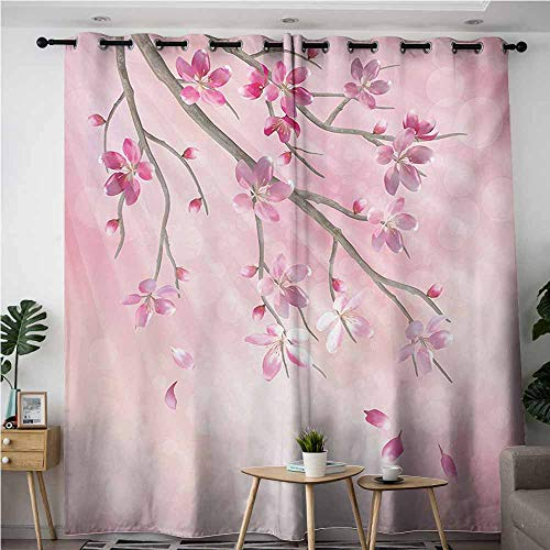 Willsd Curtains for Bedroom,Nature Illustration of Spring Tree Branch with Blossoms Sun Beams on Blurred Background,Great for Living Rooms & Bedrooms,W72x96L,Pink Fuchsia