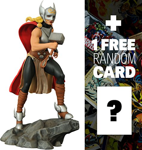 "Lady Thor: ~9"" Marvel Gallery Statue Figurine + 1 FREE Official Marvel Trading Card Bundle (18159)"