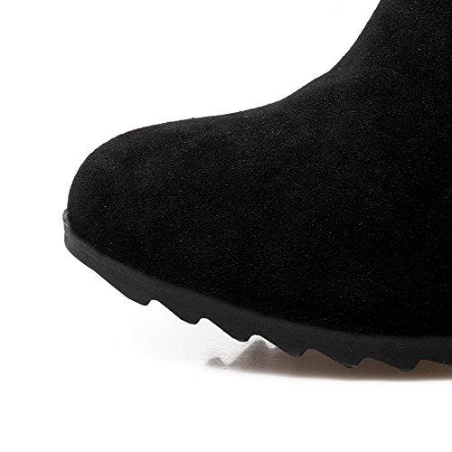 Allhqfashion Women's Low-top Zipper Frosted Kitten-Heels Round Closed Toe Boots Black FLhyrIIxdE