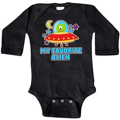 inktastic Favorite Alien In Spaceship Long Sleeve Creeper 18 Months Black