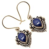 Dangle Blue LAPIS LAZULI Drop Gems Earrings 925 Silver Plated