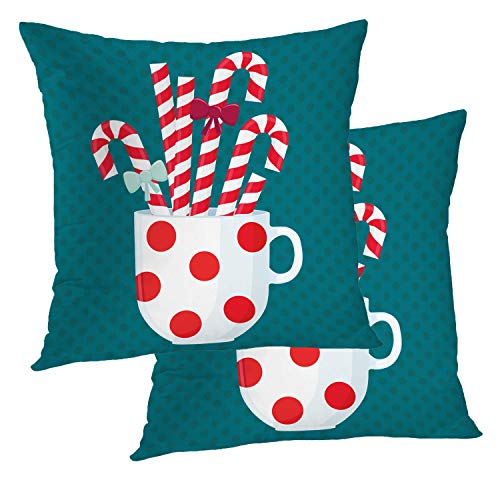 BaoNews Christmas Pillow Covers, White Cup with Red Polka Dot Ornament Candy Cane Throw Pillow Cover 18X18 Inch Cotton Square Cushion Decorative Pillow Case for Sofa Bed