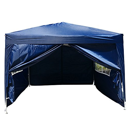 Cheap FCH 10'x10′ EZ Pop Up Tent Waterproof Outdoor Patio Party Canopy Tent Wedding Outdoor Tent Canopy Heavy duty Gazebo (BLUE)