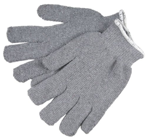 MCR Safety 9425KM Hot Mill Cotton Continuous Knit Wrist Men's Gloves with Knuckle Strap, Gray, Large, 1-Pair Hot Mill Knuckle Strap