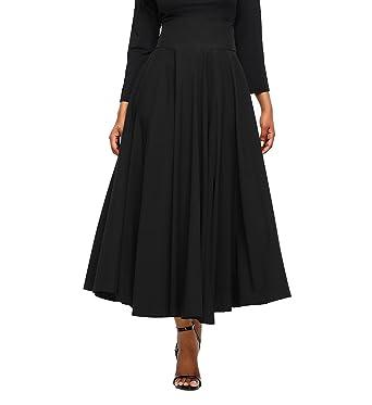 a98bb7fc100f FIYOTE Women High Waist A-Line Pleated Midi Skirt Dresses Small Size Black