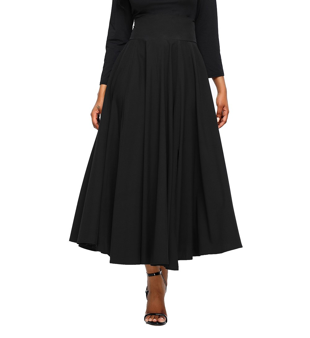 FIYOTE Women High Waist A-Line Pleated Midi Skirt Dresses X-Large Size Black