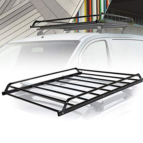 (FieryRed Universal Rooftop Cargo Basket Heavy Duty Cargo Roof Carrier Rack Ideal for SUV,Truck,Car, Roof Top Luggage Carrier for Hauling Luggage. Size: L48.4 x W38 x H4.5)